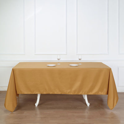 "72x120"" Gold Polyester Rectangular Tablecloth"