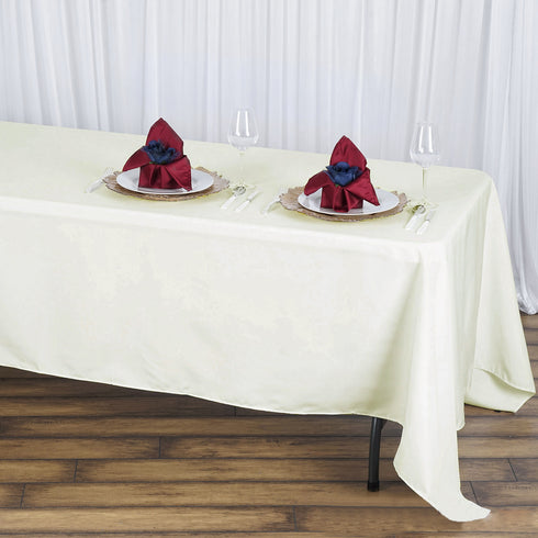 "72x120"" Ivory Seamless Premium Polyester Rectangular Tablecloth"