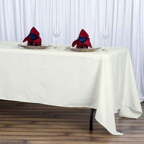 "72x120"" Seamless Premium Polyester Tablecloth - Ivory"