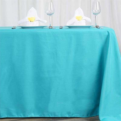 "72x120"" Turquoise Polyester Rectangular Tablecloth"