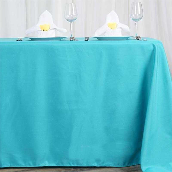 "72""x120"" Turquoise Polyester Rectangular Tablecloth"