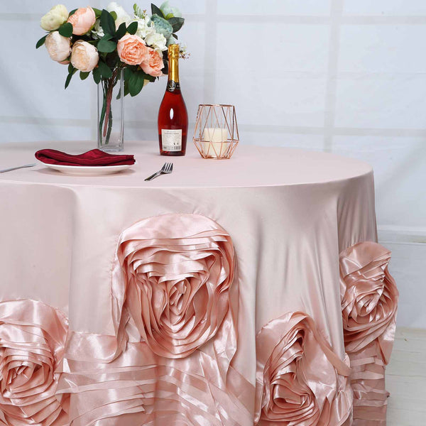 120 Quot Large Rosette Round Lamour Satin Tablecloth Rose