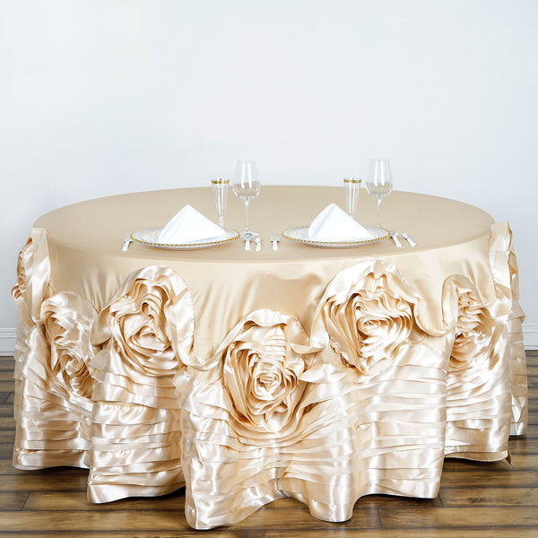 120 Quot Champagne Large Rosette Round Lamour Satin Tablecloth