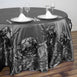 "120"" Charcoal Grey Large Rosette Round Lamour Satin Tablecloth"