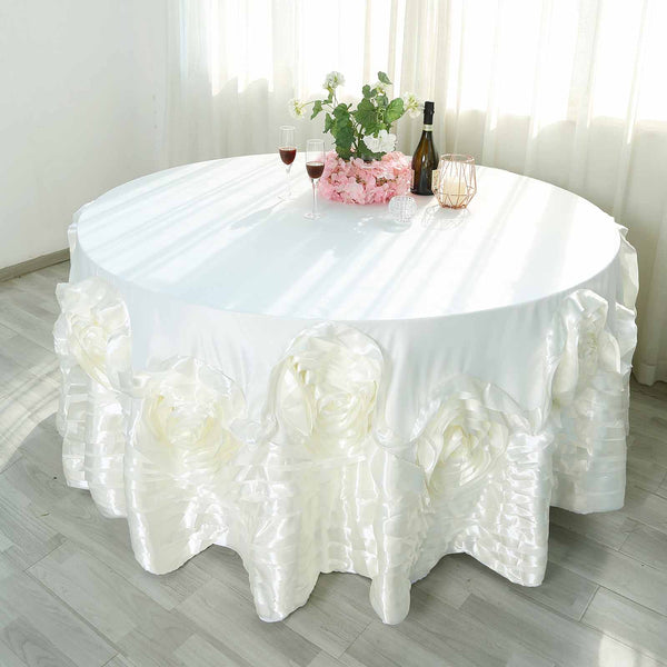 "120"" Ivory Large Rosette Round Lamour Satin Tablecloth"