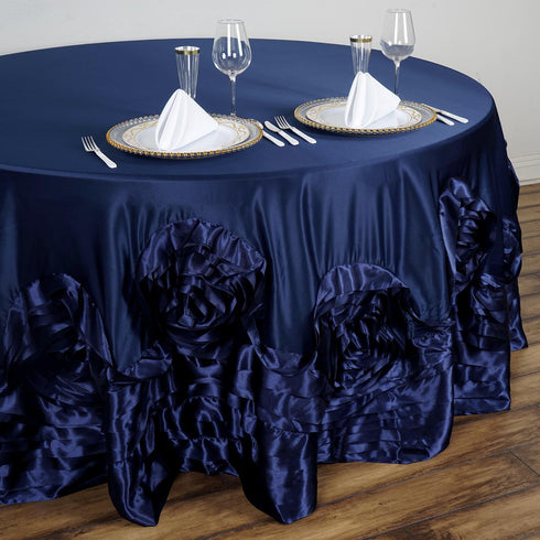 "120"" Navy Large Rosette Round Lamour Satin Tablecloth"