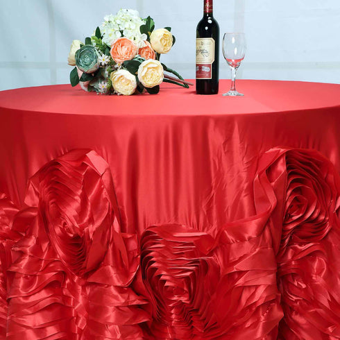"120"" Red Large Rosette Round Lamour Satin Tablecloth"