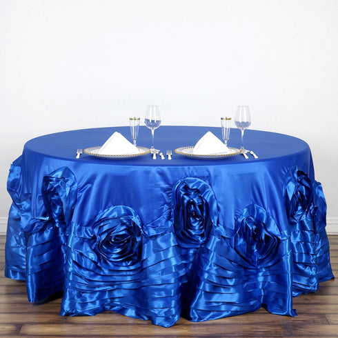 "120"" Large Rosette Round Lamour Satin Tablecloth - Royal Blue"