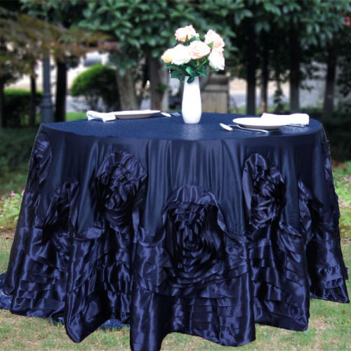 132 Quot Navy Blue Large Rosette Round Lamour Satin Tablecloth