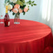 "132"" Red Large Rosette Round Lamour Satin Tablecloth"