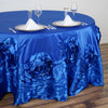 "132"" Royal Large Rosette Round Lamour Satin Tablecloth"