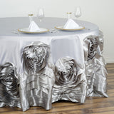 "132"" Silver Large Rosette Round Lamour Satin Tablecloth"