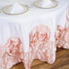 "132"" White/Blush Large Rosette Round Lamour Satin Tablecloth"
