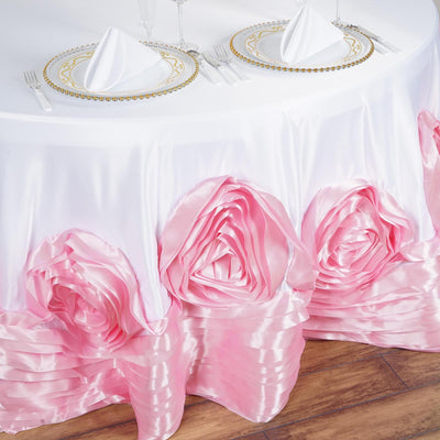 "132"" White/Pink Large Rosette Round Lamour Satin Tablecloth"
