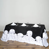 "90""x132"" Black/White Large Rosette Rectangular Lamour Satin Tablecloth"