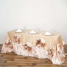 "90""x132"" Champagne Large Rosette Oblong Rectangular Lamour Satin Tablecloth"