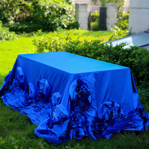 "90""x132"" Royal Blue Large Rosette Rectangular Lamour Satin Tablecloth"