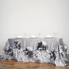 "90""x132"" Silver Large Rosette Rectangular Lamour Satin Tablecloth"