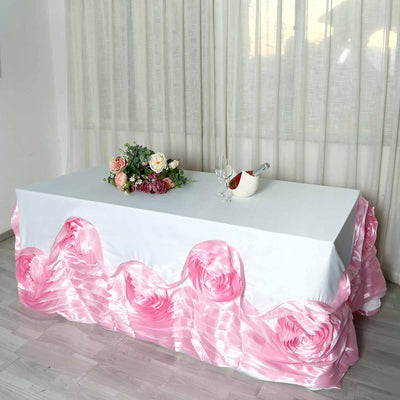 "90""x132"" White/Pink Large Rosette Rectangular Lamour Satin Tablecloth"