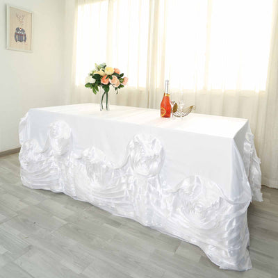 "90""x132"" White Large Rosette Rectangular Lamour Satin Tablecloth"