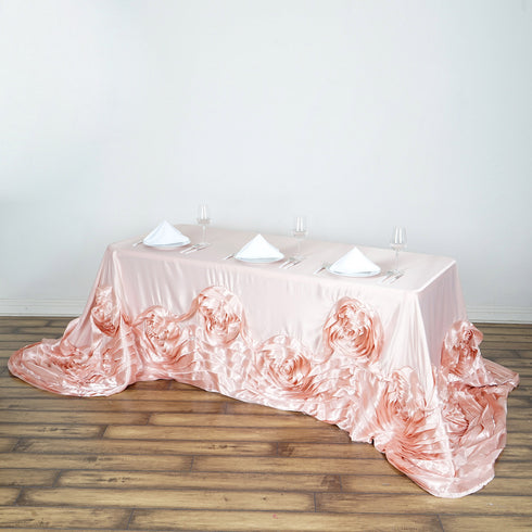 "90""x156"" Rose Gold/Blush Large Rosette Rectangular Satin Tablecloth"
