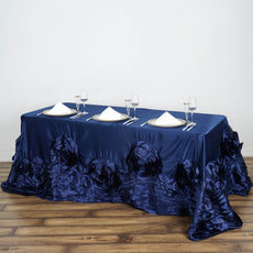 "90""x156"" Large Rosette Oblong Rectangular Lamour Satin Tablecloth - Navy Blue"