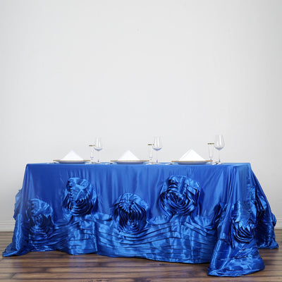 "90""x156"" Royal Blue Large Rosette Rectangular Lamour Satin Tablecloth"