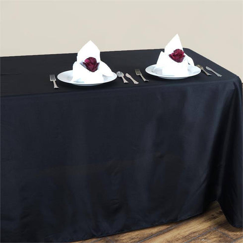 "90x132"" BLACK Wholesale Polyester Round Corner Banquet Linen Wedding Party Restaurant Tablecloth"