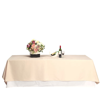 "90x132"" Beige Polyester Tablecloth"
