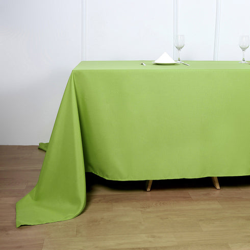 90inch x 132inch Apple Green Polyester Rectangular Tablecloth