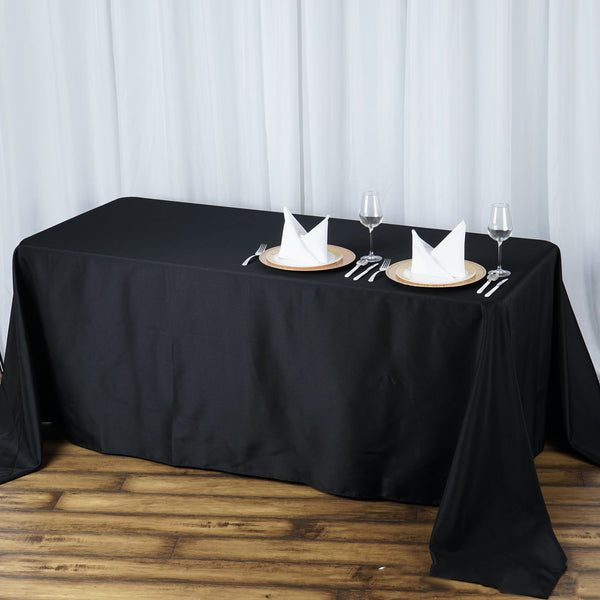 "90""x132"" Black 220 GSM Seamless Premium Polyester Rectangular Tablecloth"