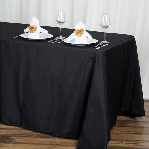 "90x132"" Polyester Tablecloth - Black"