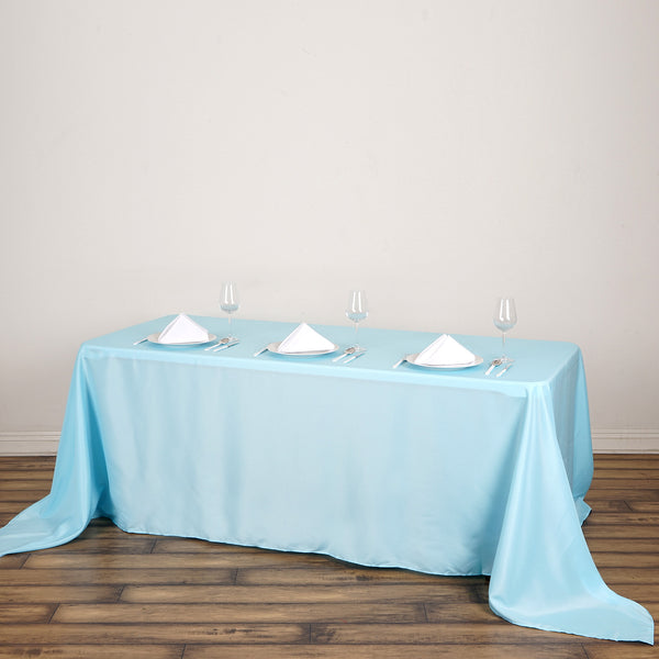"90""x132"" Blue Polyester Rectangular Tablecloth"