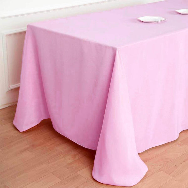 "90""x132"" PINK Polyester Rectangular Tablecloth"