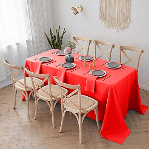 "90x132"" Red Polyester Rectangular Tablecloth"