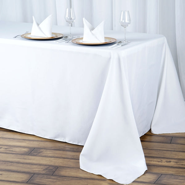 "90""x132"" White 220 GSM Seamless Premium Polyester Rectangular Tablecloth"