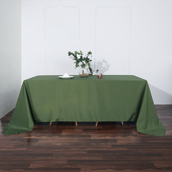 "90""x132"" Moss Green Polyester Rectangular Tablecloth"