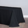 90x156 Black Polyester Round Corner Linen Rectangular Tablecloth