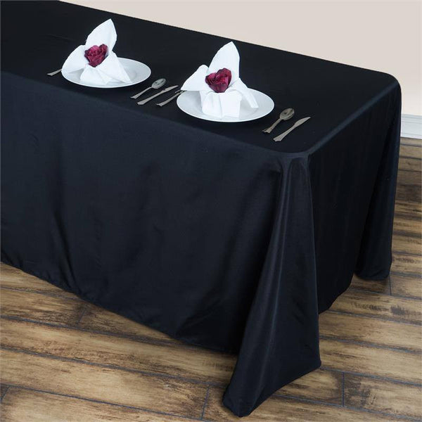 "90""x156"" Black Polyester Round Corner Linen Rectangular Tablecloth"