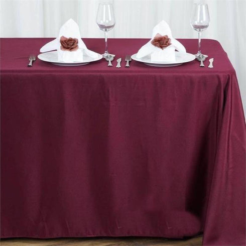 "90x156"" Polyester Tablecloth - Burgundy"