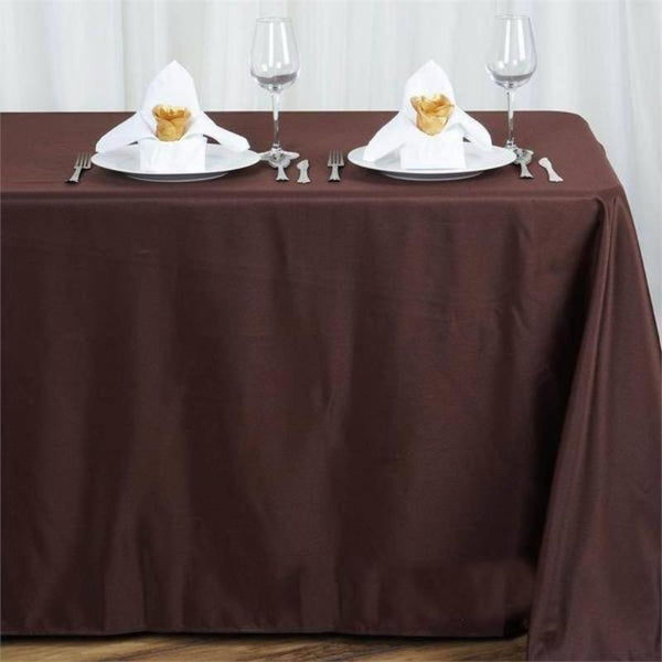 "90""x156"" Chocolate Polyester Rectangular Tablecloth"