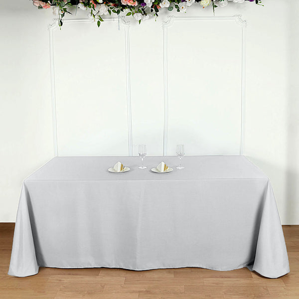 "90""x156"" Silver Polyester Rectangular Tablecloth"