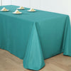 "90""x156"" Teal Polyester Rectangular Tablecloth"