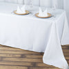 "90x156"" White Seamless Premium Polyester Rectangular Tablecloth"