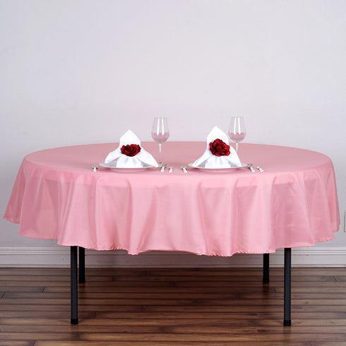 "90"" Polyester Round Tablecloth - Rose Quartz"