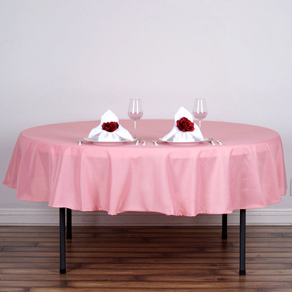 "90"" Rose Quartz Polyester Round Tablecloth"