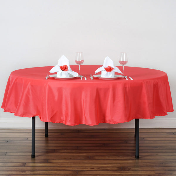 "90"" Coral Red Polyester Round Tablecloth"