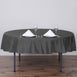 "90"" Charcoal Gray Polyester Round Tablecloth"