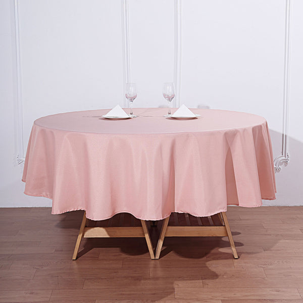 "90"" Dusty Rose Polyester Round Tablecloth"