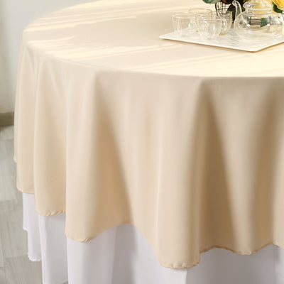 "90"" Beige Polyester Round Tablecloth"